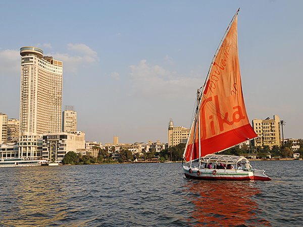 Felucca Ride on the Nile in Cairo with a view of Cairo Night life