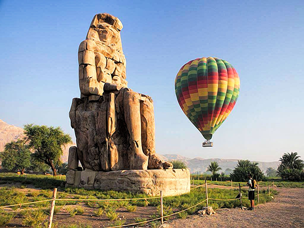 Hot air Balloon ride in Luxor Egypt over the west bank of the Nile